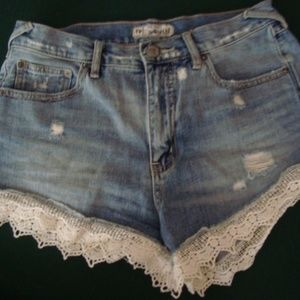 Free People distressed denim/lace trim shorts 28